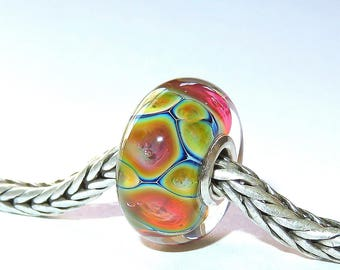 Luccicare Lampwork Bead - Opal I -  Lined with Sterling Silver