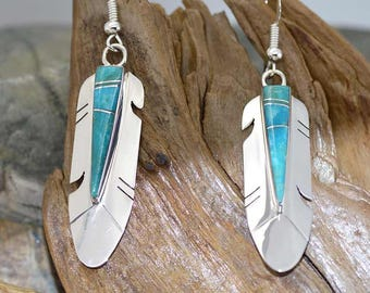 Genuine Turquoise Inlay Feathers sterling silver 925 earrings ~ Great gift idea Gift Box included