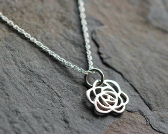 Rose Jewelry - Rose necklace - Rose lover gift - Flower necklace - Sterling rose necklace - Silver rose necklace - Flower necklace - Artdeco