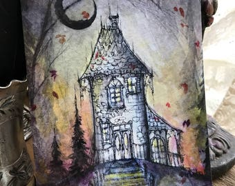5x7 One Art Print from my Original Painting Victorian House Haunted Witchcraft Crescent Moon Witch Halloween Gothic Folk Terri Foss