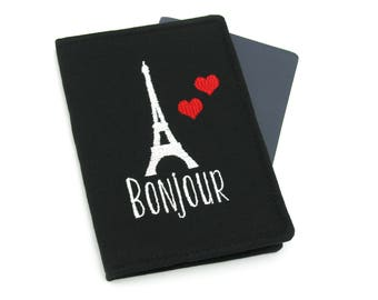 Paris Eiffel Tower Embroidered Passport Cover, Passport Holder, Passport Wallet, Passport Case, Travel Gift, Bonjour love hearts