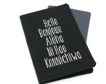 Hello Bonjour Languages Embroidered Passport Cover, Passport Holder, Passport Wallet, Passport Case, Typography Gift