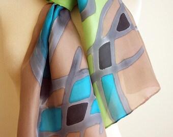 Hand Painted Silk Scarf. Hand Painted Silk Shawl. 71x18 in. Wedding Gift. Giveaways. Ooak scarf. Green-Black-Brown-Blue silk scarf.
