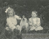 Vintage photo 1910 Little Girl Boy w Terrier Dog in Middle