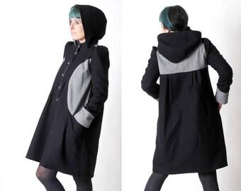 Long winter Coat with round hood, Navy blue and houndstooth womens coat, Wool womens coat, Womens winter clothing, MALAM, size UK 10