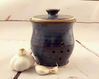 Garlic Keeper - Large Shallot Jar - Pierced Canister - Lidded Storage Jar - Kitchen Essential - Ready to Ship - Marbled Brown Blue s536