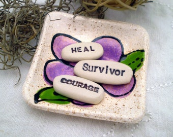 Survivor Courage Heal, Cancer Survivor Gift, Cancer Awareness, Get Well Gift, Positive Affirmations