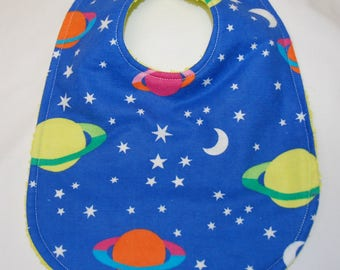 Baby Boy Bib, Baby Shower Gift, Welcome Baby Gift, New Mom Gift: Planets, Moon and Stars on Blue