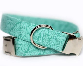 Personalized Green floral dog collar, Engraved Buckle option, Personalized Collar available,  Floral Collar - Mint Petticoat