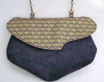 Handbag, pouch, shoulder bag FIONA in black cotton and golden patterns, and black suede