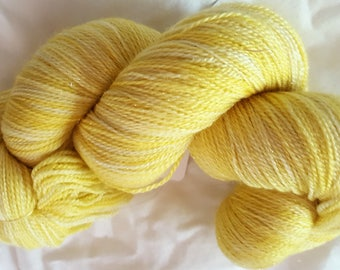Fairy Lace Lemon Cream hand dyed lace weight yarn 875 yds