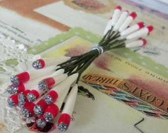 Vintage Millinery / Double Ended Stamens / Red and White / Replacement Candles for Vintage Christmas Decorations