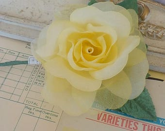 Vintage Fabric Rose / Yellow / Layers of Opaque and Sheer Flower Petals / One Item
