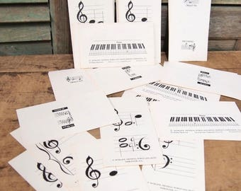 Free Shipping Lot of 5 cards Musical Flash Cards General Words and Music Company Piano Musical notation Black White