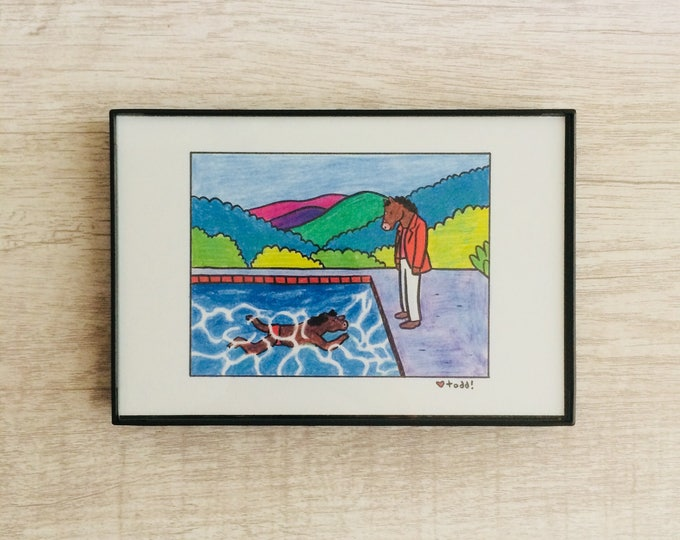 Bojack Horseman, 4 x 6 inch Print, Crayon Drawing, Illustration, David Hockney, Pop Culture, Wall Decor, TV, Mash-up