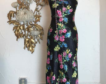 1990s dress maxi dess black floral dress size medium vintage dress 1930s style dress 90s does the 30s 34 bust bias cut dress