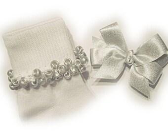 Kathy's Beaded Socks - Shimmery Silver Socks and hairbow, holiday socks, pony bead socks, silver socks, pearl socks, holiday socks