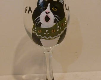 """Meowy Christmas Tuxedo Cat Wine Glass """"Clarissa the Caroler"""" Pet Lovers Boutique Hand Painted"""