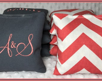 Cornhole Bags Monogram Set of 8 Bags Dark Grey and Coral Chevron