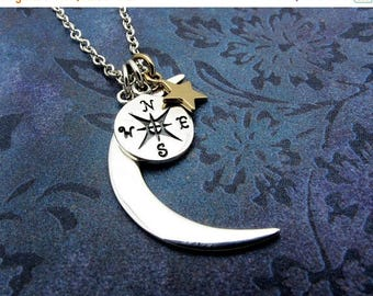 compass necklace, silver moon necklace, gift for her, moon and star necklace, stargazer necklace, astronomy jewelry, sterling silver moon