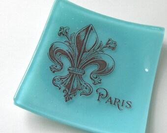 We'll always have Paris - Decorative Glass Dish - Fleur de Lis  - New Orleans