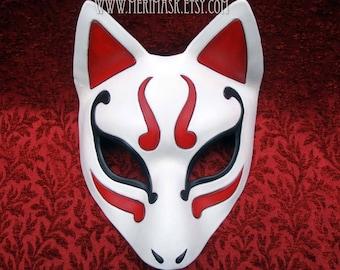 READY TO SHIP Kitsune Mask... Japanese Fox Leather Mask masquerade costume Halloween Mardi Gras Burning Man