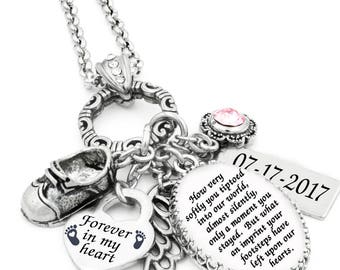 Miscarriage Necklace, Miscarriage Memorial, Personalized Miscarriage Pendant, Forever in My Heart Handcrafted in stainless steel