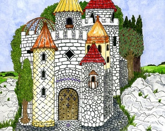 Fairy Tale Castle with Colorful Turrets Print Fantasy Countryside Pen and Ink Watercolor Illustration Wall Art