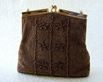 Vintage WALBORG Beaded Purse Copper Metallic Bronze Brown Bead Handbag Faux MOP Kiss Clasp Frame Formal Evening Bag Cocktail Party Wedding
