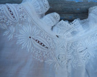 Vintage Antique 1850/1900  plastron bib collar breast plate embroidered white cotton