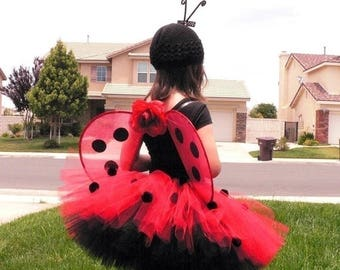 SUMMER SALE 20% OFF Ladybug Girl Costume - Custom Sewn Tutu, Wings, and Antenna all included - Handmade Wings - sizes up to 5T