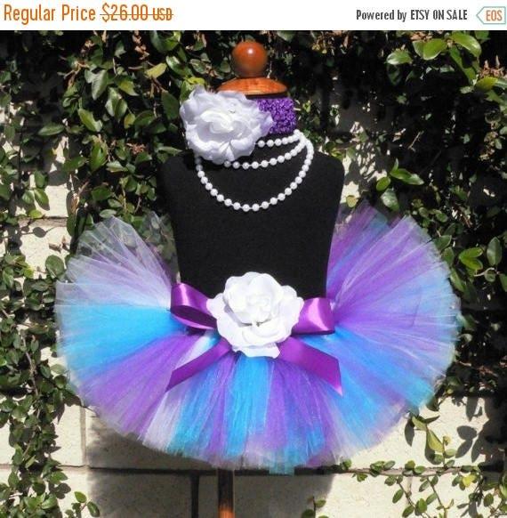 SUMMER SALE 20% OFF Purple Blue White Custom Tutu - Sewn Infant Toddler Tutu and Headband Set - Lilacs - sizes newborn up to 24 months