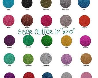 "Glitter Siser HEAT TRANSFER vinyl sheet size 20""x12"" many colors available"