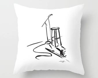 """Black and White Open Mic, Minimalist Pillow,Abstract painting, Bold Brushstroke Art, """"Open Mic"""" Original Painting by Kathy Morton Stanion"""