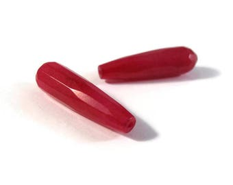 Matched Pair of Ruby Red Quartzite Beads, 2 Long Drilled Drop Beads, Gemstones, Jewelry Supplies, 36mm x 9mm (Pt-Ja2)