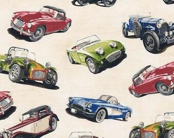Classic Cruisers Vintage Roadster Sports Car Robert Kaufman Fabric, yard