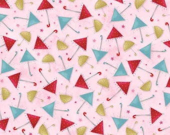 """Santoro, Kori Kumi -The Gift of Friends collection, """"Umbrellas in Pink from Quilting Treasures, yard"""