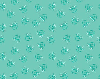 Flora and Fawn by Amanda Herring for Riley Blake, Flora Floral Teal, 1 yard