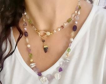 Boho Long assorted gem Pave Cz clasp Horn Necklace-gem Tusk pearl amethyst Cz clasp necklace diamond look beaded necklace-long Boho Yoga