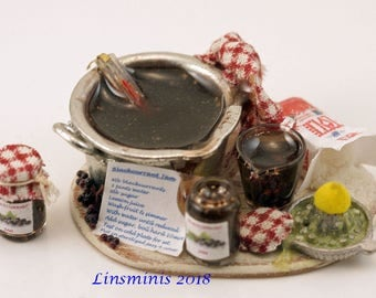 "12th scale handmade dollhouse miniature ""Making Blackcurrant Jam"""