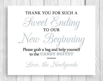 Sweet Ending to Our New Beginning 8x10 Printable Black and Silver/Gray Wedding Candy Buffet Sign - Instant Digital Download