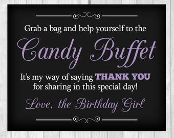 Grab a Bag and Help Yourself to the Candy Buffet 5x7, 8x10 Black and Lavender Printable Birthday Girl Sign - Instant Download