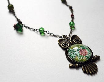 OWL necklace, pink Peony CCH006B