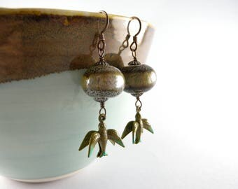 Celadon and Olive Lampwork Glass Earrings with 3D Sparrow Birds