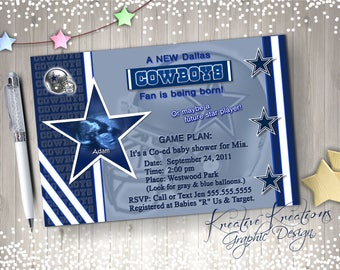 Personalized Dallas Baby shower invitation WITH your Ultra Sound Digital Design / printable