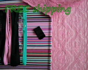 FREE Ship DIY Fabric + Notions Summer Stripes & Pink for 1 BRA + Panty by Merckwaerdigh