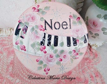 Noel, Silver Snowflakes, Hand Painted Round Piano Keepsake Box, Pink Cottage Roses,Gift Box, Storage, Piano Accent, ECS