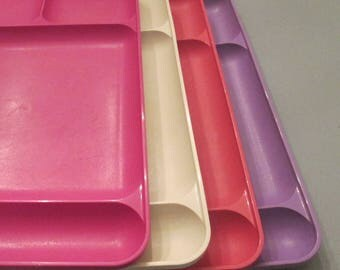 Four Vintage Tupperware Lunch Trays - Vintage Tupperware Plastics - Divided Serving Trays