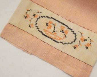 Two Vintage Yellow and Peach Fingertip Towels - Cross Stitched Linen Towels - Powder Room Decor