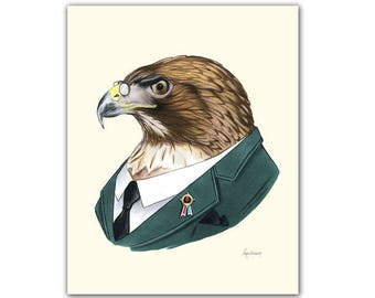 Red-tailed Hawk art print 8x10